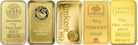 5 Lingots d'or de 10 grammes de differends fondeurs. (Prix des lingots de 10 grammes d'or 24 carats)