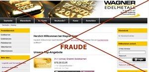 Un faux site allemands de vente en ligne d'or et d'argent.