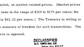 Lettre d'Arthur Burns au President Ford de Juin 1975 concernant le cours de l'or.