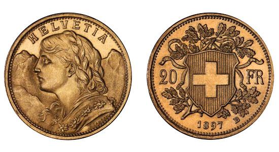 Avers et revers de la 20 francs suisse vreneli 1897 en Or, une Pièce d'Or de 5,80 gramme.