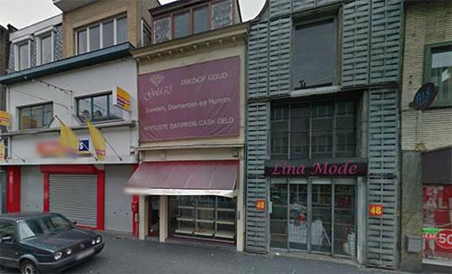 Vu exterieure du magasin d'or Goudbank à Anvers.