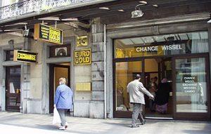 Vu interieur des locaux du magasin d'or Eurogold à Bruxelles.