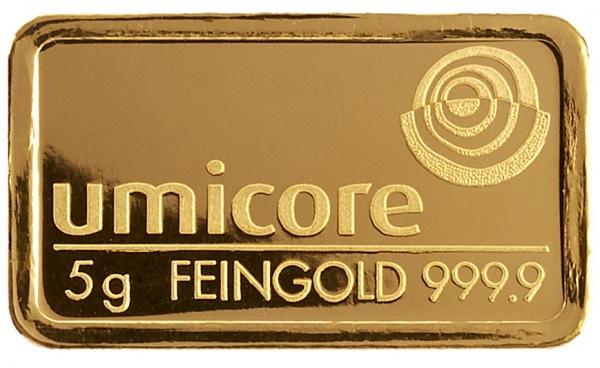 Le lingot en or de 5 grammes d'or du fondeur belge Umicore en or 999/1000 soit or 24 carats
