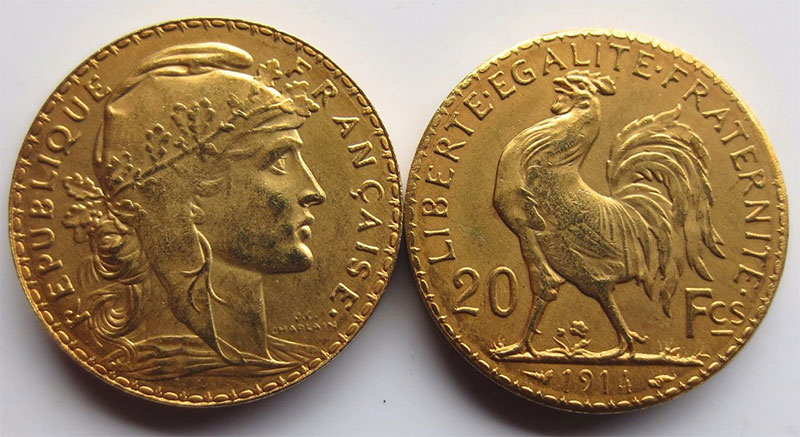 copie 20 Francs Or Coq 1914.