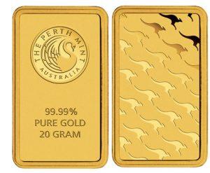 Le lingot en or de 20 grammes du fondeur australien Perth Mint.