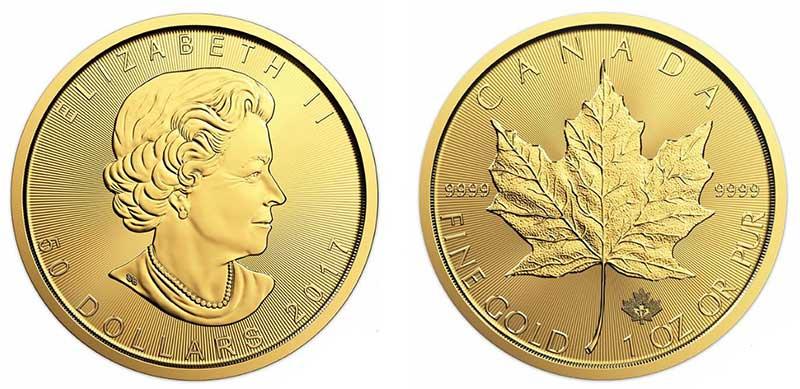 """Avers y revers de la pìèce en or canadienne """"feuille d'érable"""" d'une once d'or millésime 2017. La pièce d'or """"feuille d'érable"""" 2017 est en or 24 carats soit 100% d'or."""