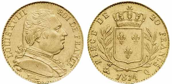 Avers y Revers de la 20 Francs Or Exil de Louis XVIII, 1815. Le napoleon or 1815 est une Pièce d'Or francaise de 5,80 gramme d'or fin d'un diamètre de 21,0 mm.