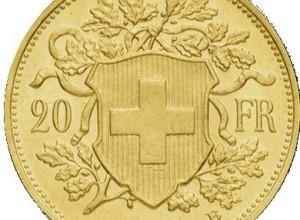La pièce de 20 francs or Suisse à été crée en 1883 et a été produite jusqu'en 1949. Elle est à l'éffigie de Vreneli ou de Helvetia. Son poids en or est de 6,4516gr.     En novembre 2011, son prix de négociation variaient entre 220€ et 250€. Comme pour toutes les pièces d'or, son prix de vente est aussi fonction de son état de préservation.