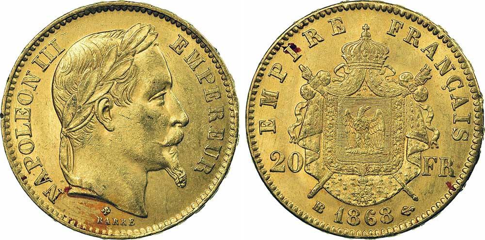 Avers y Revers de la 20 Francs en Or Napolèon III BB 1868. Le napoleon or BB 1868 est une Pièce d'Or francaise de 5,80 gramme d'or fin d'un diamètre de 21,0 mm.