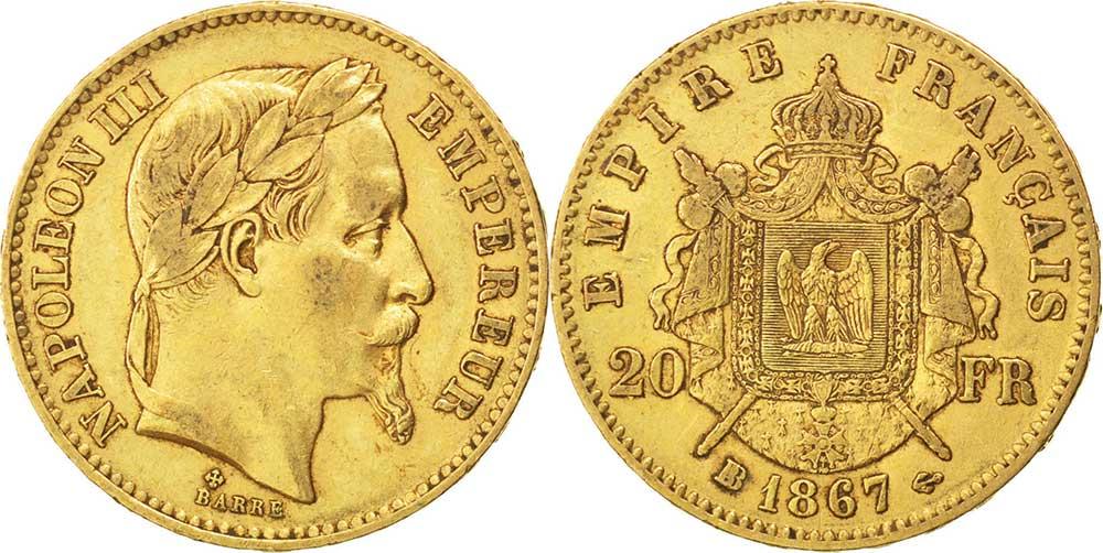 Avers y Revers de la 20 Francs en Or Napolèon III BB 1867. Le napoleon or BB 1867 est une Pièce d'Or francaise de 5,80 gramme d'or fin d'un diamètre de 21,0 mm.