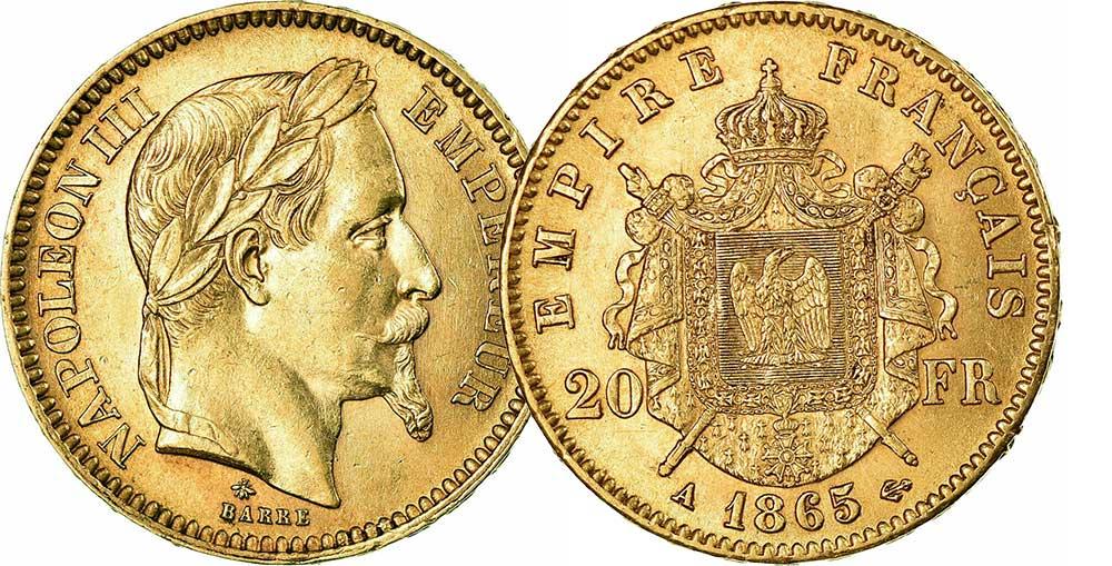 Avers y Revers de la 20 Francs en Or Napolèon III A 1865. Le napoleon or A 1865 est une Pièce d'Or francaise de 5,80 gramme d'or fin d'un diamètre de 21,0 mm.