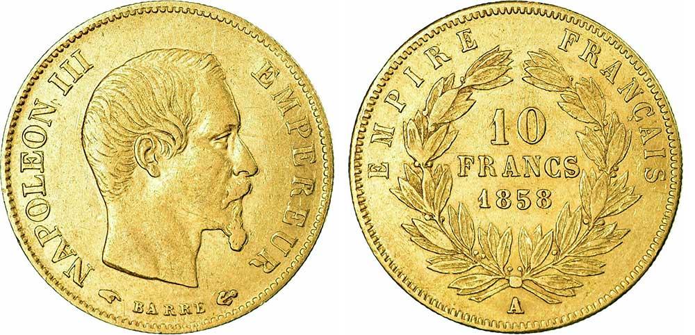 Avers y Revers de la 10 Francs en Or A-1858. Le demi napoleon or A-1858 est une Pièce d'Or francaise de 3,22 gramme d'or titrant 900‰ d'un diamètre de 19,00 mm.
