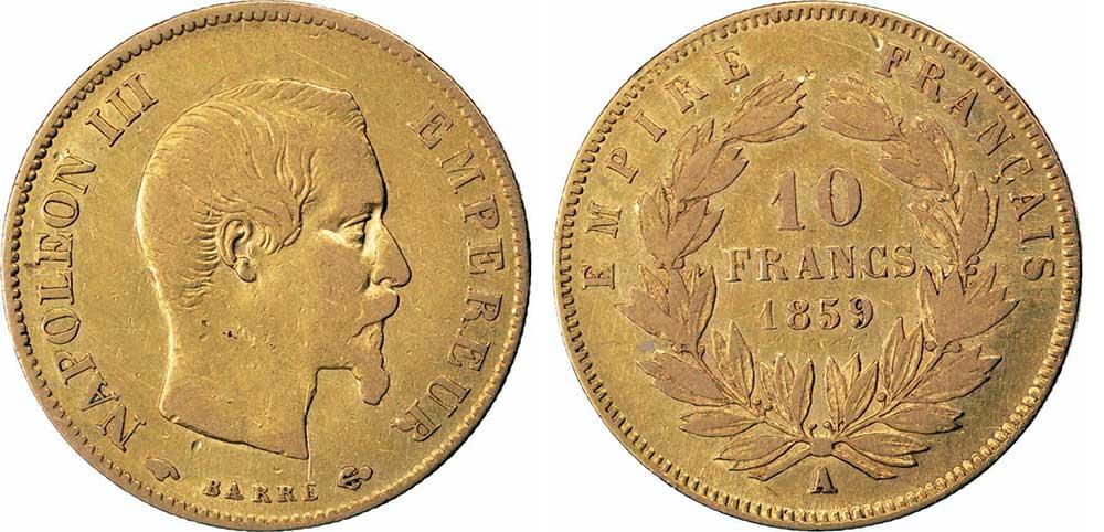 Avers y Revers de la 10 Francs en Or A-1859. Le demi napoleon or A-1859 est une Pièce d'Or francaise de 3,22 gramme d'or titrant 900‰ d'un diamètre de 19,00 mm.