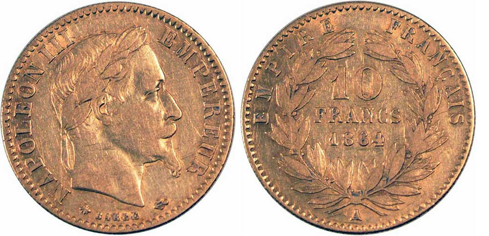 Avers y Revers de la 10 Francs en Or A-1864. Le demi napoleon or A-1864 est une Pièce d'Or francaise de 3,22 gramme d'or titrant 900‰ d'un diamètre de 19,00 mm.