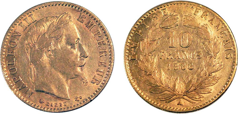 Avers y Revers de la 10 Francs en Or A-1866. Le demi napoleon or A-1866 est une Pièce d'Or francaise de 3,22 gramme d'or titrant 900‰ d'un diamètre de 19,00 mm.