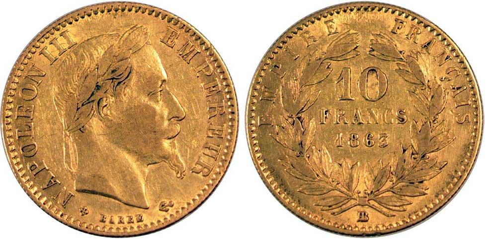 Avers y Revers de la 10 Francs en Or BB-1863. Le demi napoléon or BB-1863 est une Pièce d'Or française de 3,22 gramme d'or titrant 900‰ d'un diamètre de 19,00 mm.