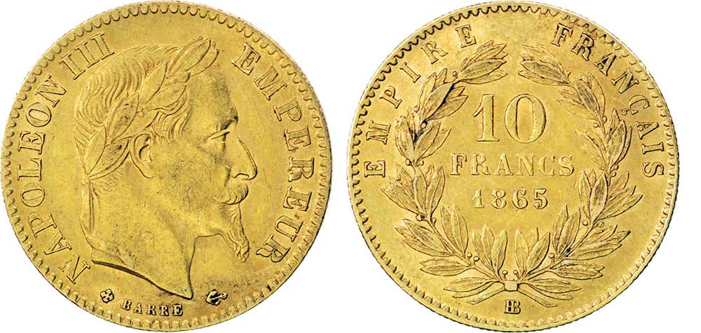 Avers y Revers de la copie de la 10 Francs en Or BB-1865. Le demi napoleon or BB-1865 est une Pièce d'Or francaise de 3,22 gramme d'or titrant 900‰ d'un diamètre de 19,00 mm.