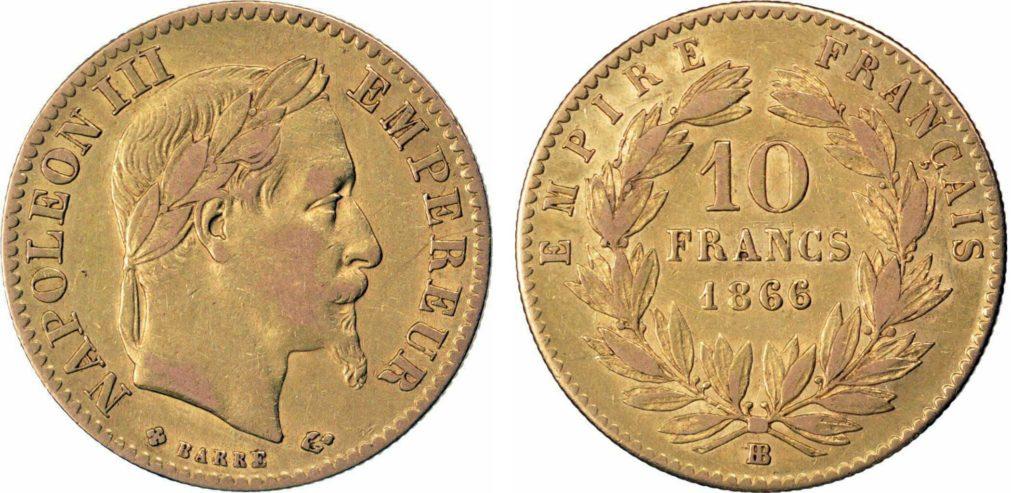 Avers y Revers de la 10 Francs en Or BB-1866. Le demi napoleon or BB-1866 est une Pièce d'Or francaise de 3,22 gramme d'or titrant 900‰ d'un diamètre de 19,00 mm.