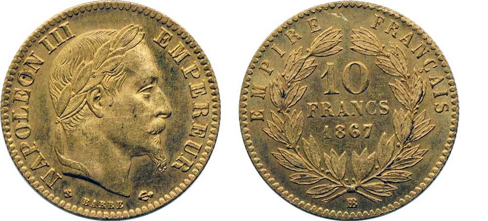 Avers y Revers de la 10 Francs en Or BB-1867. Le demi napoleon or BB-1867 est une Pièce d'Or francaise de 3,22 gramme d'or titrant 900‰ d'un diamètre de 19,00 mm.