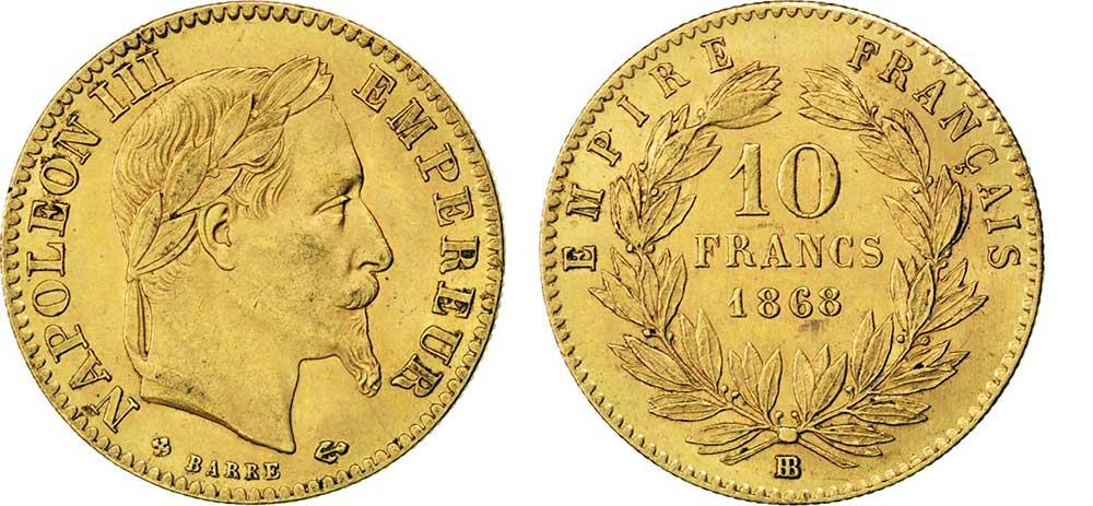Avers y Revers de la 10 Francs en Or BB-1868. Le demi napoléon or BB-1868 est une Pièce d'Or française de 3,22 gramme d'or titrant 900‰ d'un diamètre de 19,00 mm.