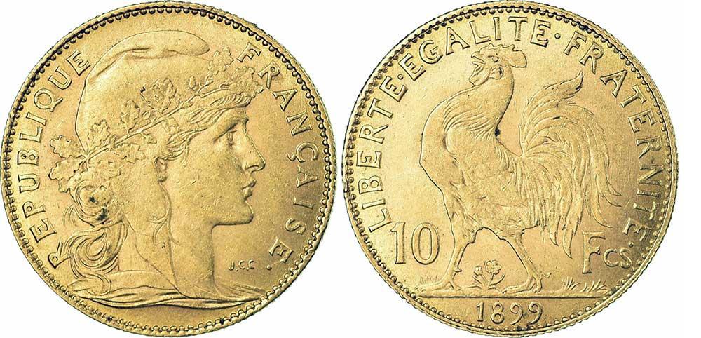 Avers y Revers de la 10 Francs en Or Coq Marianne 1899. Le demi napoleon or 1899 est une Pièce d'Or francaise de 3,22 gramme d'or titrant 900‰ d'un diamètre de 19,00 mm.