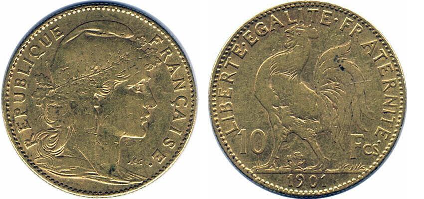 Avers y Revers de la 10 Francs en Or Coq Marianne 1901. Le demi napoleon or 1901 est une Pièce d'Or francaise de 3,22 gramme d'or titrant 900‰ d'un diamètre de 19,00 mm.