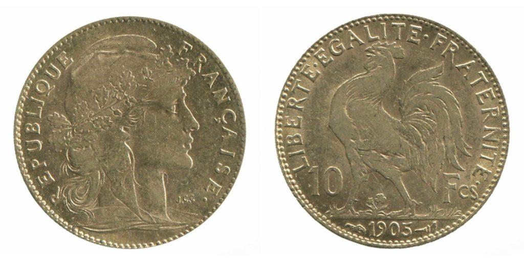 Avers y Revers de la copie de la 10 Francs en Or Coq Marianne 1905. Le demi napoleon or 1905 est une Pièce d'Or francaise de 3,22 gramme d'or titrant 900‰ d'un diamètre de 19,00 mm.