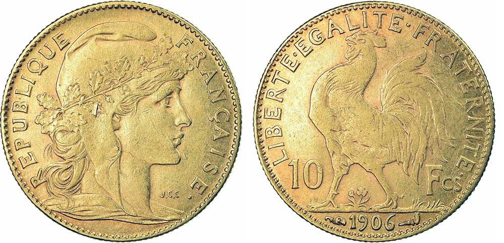 Avers y Revers de la 10 Francs en Or Coq Marianne 1906. Le demi napoleon or 1906 est une Pièce d'Or francaise de 3,22 gramme d'or titrant 900‰ d'un diamètre de 19,00 mm.