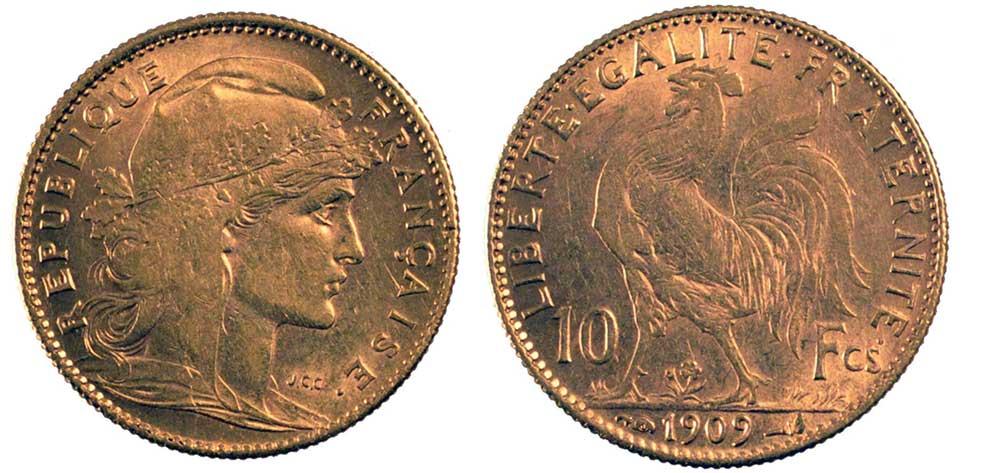 Avers y Revers de la 10 Francs en Or Coq Marianne 1909. Le demi napoleon or 1909 est une Pièce d'Or francaise de 3,22 gramme d'or titrant 900‰ d'un diamètre de 19,00 mm.