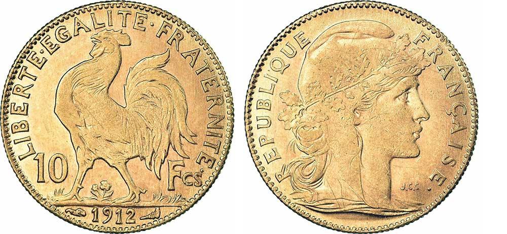 Avers y Revers de la 10 Francs en Or Coq Marianne 1912. Le demi napoleon or 1912 est une Pièce d'Or francaise de 3,22 gramme d'or titrant 900‰ d'un diamètre de 19,00 mm.