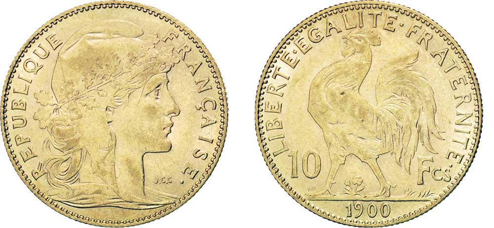Avers y Revers de la copie de la 10 Francs en Or Coq Marianne 1900. Le demi napoleon or 1900 est une Pièce d'Or francaise de 3,22 gramme d'or titrant 900‰ d'un diamètre de 19,00 mm.
