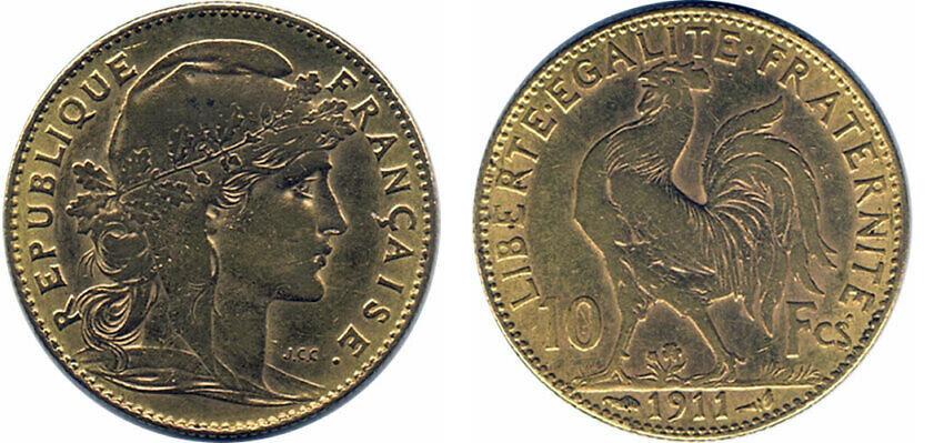 Avers y Revers de la copie de la 10 Francs en Or Coq Marianne 1911. Le demi napoleon or 1911 est une Pièce d'Or francaise de 3,22 gramme d'or titrant 900‰ d'un diamètre de 19,00 mm.