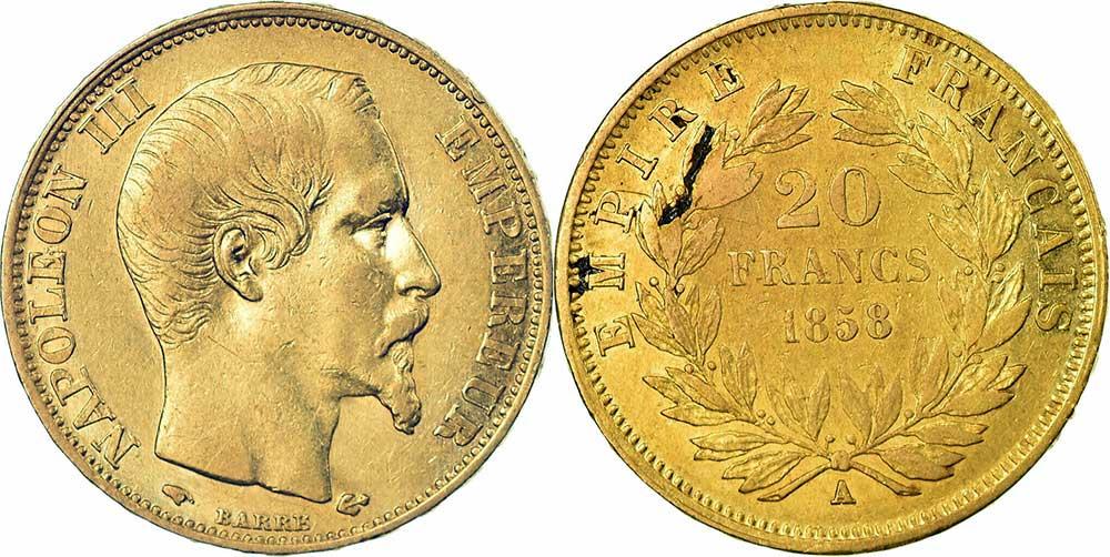 Avers y Revers de la 20 Francs en Or Napoléon III 1858. Le napoléon or 1858 A est une Pièce d'Or française de 5,80 gramme d'or fin d'un diamètre de 21,0 mm.