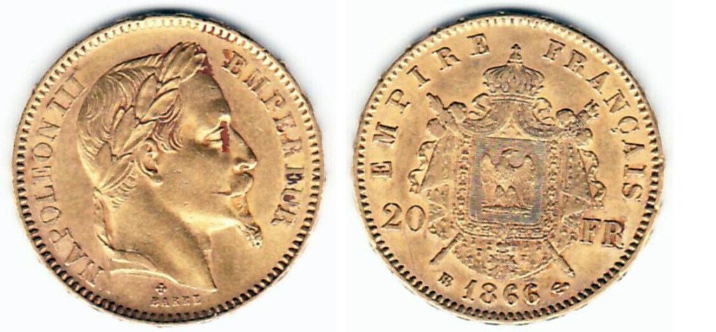 Avers y Revers de la 20 Francs en Or Napolèon III 1866 BB. Le napoleon or 1866 BB est une Pièce d'Or francaise de 5,80 gramme d'or fin d'un diamètre de 21,0 mm.