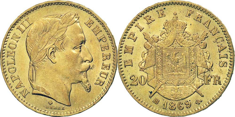Avers y Revers de la 20 Francs en Or Napoléon III 1869. Le napoléon or 1869 BB est une Pièce d'Or française de 5,80 gramme d'or fin d'un diamètre de 21,0 mm.