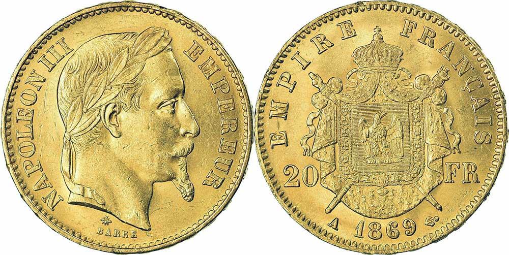 Avers y Revers de la 20 Francs en Or Napolèon III 1869 A. Le napoleon or 1869 A est une Pièce d'Or francaise de 5,80 gramme d'or fin d'un diamètre de 21,0 mm.