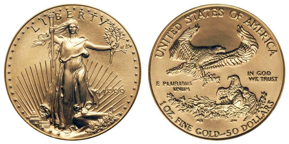 """Avers y revers de la pìèce en or """"american eagle"""" d'une once d'or millesime 1999. La pièce d'or Aigle Américain 1999 est en or 22 carats soit 91,67% d'or."""