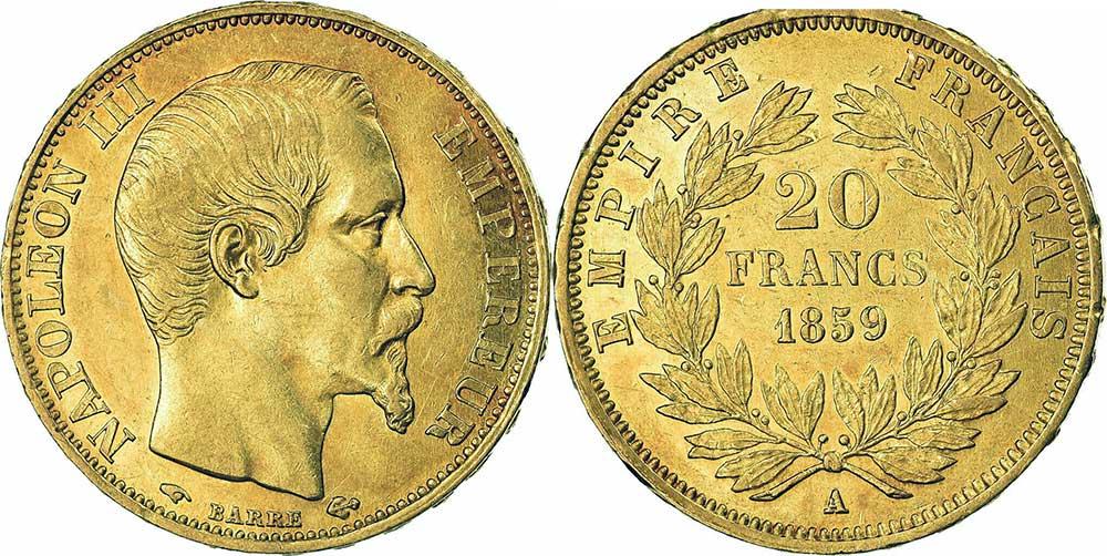 Avers y Revers de la 20 Francs en Or Napoléon III 1859 A. Le napoléon or 1859 est une Pièce d'Or française de 5,80 gramme d'or fin d'un diamètre de 21,0 mm.