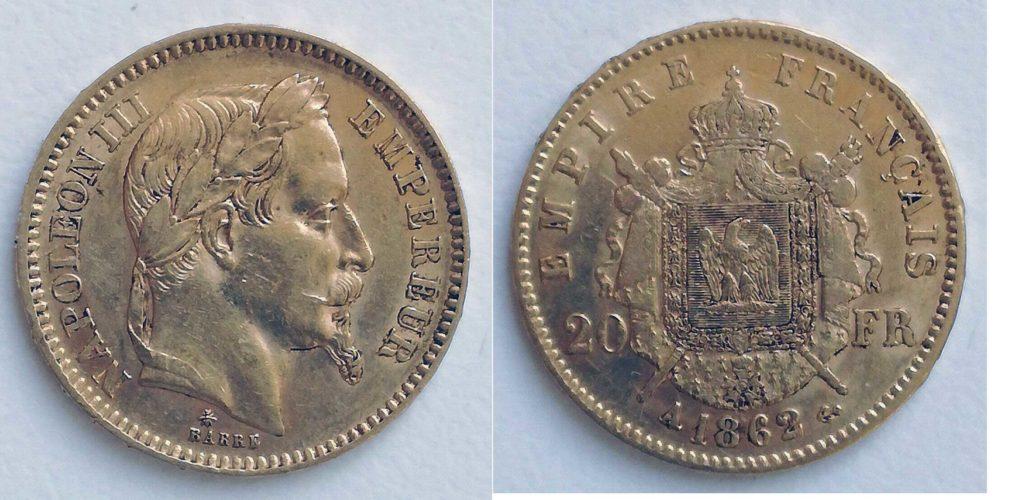 Avers y Revers de la 20 Francs en Or Napolèon III 1862 A. Le napoleon or 1862 est une Pièce d'Or francaise de 5,80 gramme d'or fin d'un diamètre de 21,0 mm.