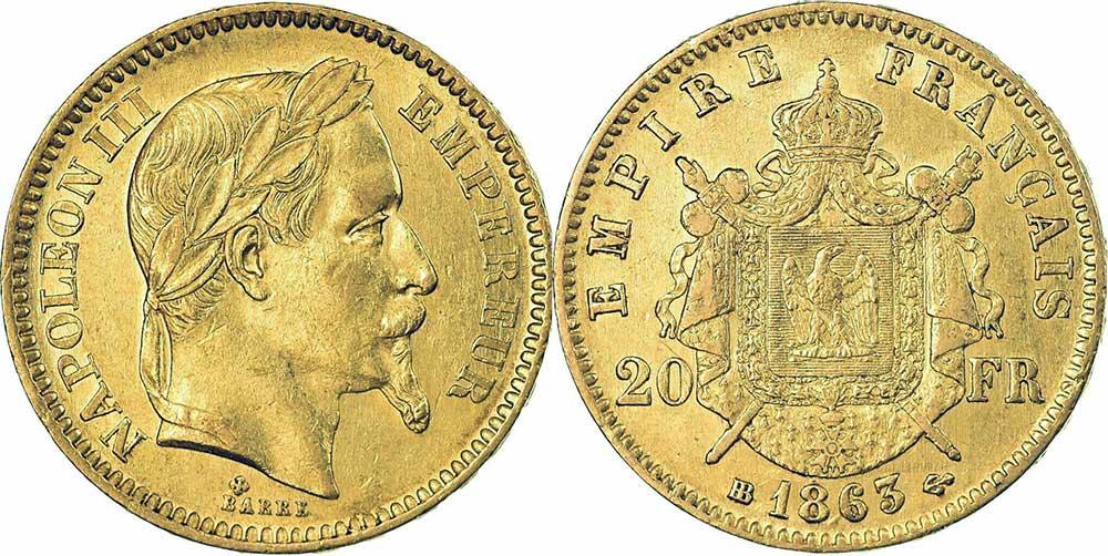 Avers y Revers de la 20 Francs en Or Napolèon III 1863. Le napoleon or 1863 est une Pièce d'Or francaise de 5,80 gramme d'or fin d'un diamètre de 21,0 mm.