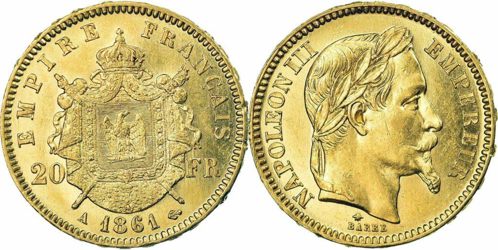 Avers y Revers de la 20 Francs en Or Napolèon III A 1861. Le napoleon or A 1861 est une Pièce d'Or francaise de 5,80 gramme d'or fin d'un diamètre de 21,0 mm.