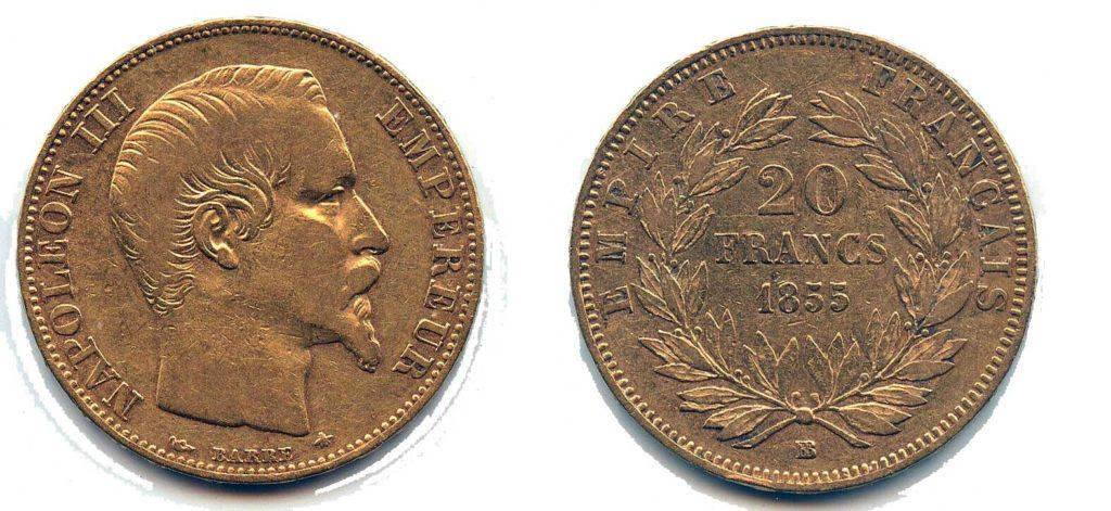 Avers y Revers de la 20 Francs en Avers y Revers de la 20 Francs en Or Napoléon III BB-1855. Le napoléon or BB-1855 est une Pièce d'Or française de 5,80 gramme d'or fin d'un diamètre de 21,0 mm.