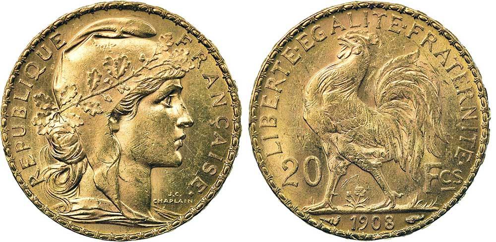 Avers y Revers de la 20 Francs en Or Coq Marianne 1908. Le napoleon or 1908 est une Pièce d'Or francaise de 5,80 gramme d'or fin d'un diamètre de 21,0 mm.