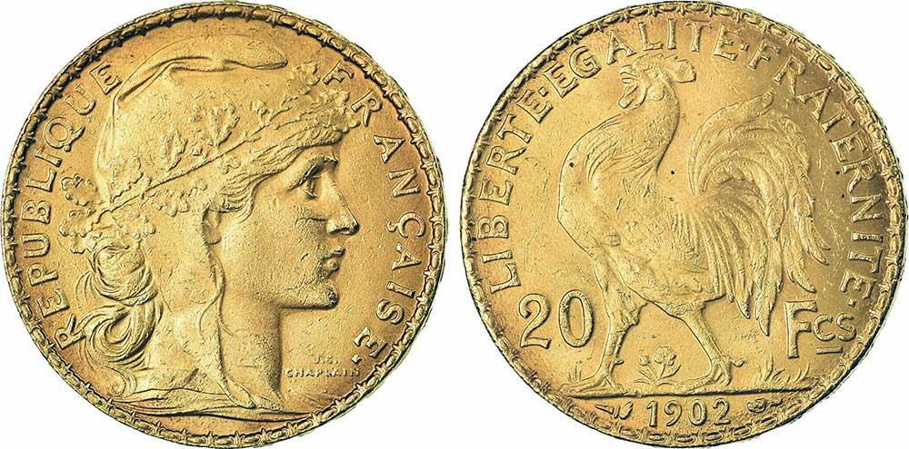 Avers y Revers de la 20 Francs en Or Coq Marianne 1902. Le napoleon or 1902 est une Pièce d'Or francaise de 5,80 gramme d'or fin d'un diamètre de 21,0 mm.