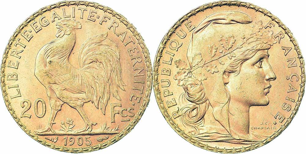 Cara y cruz de la moneda de oro francesa de 20 Francos Marianne 1905. El Napoleón de 1905 o es una moneda de oro francesa con 5,80 Gramos de oro fino y un diámetro de 21,0 mm.