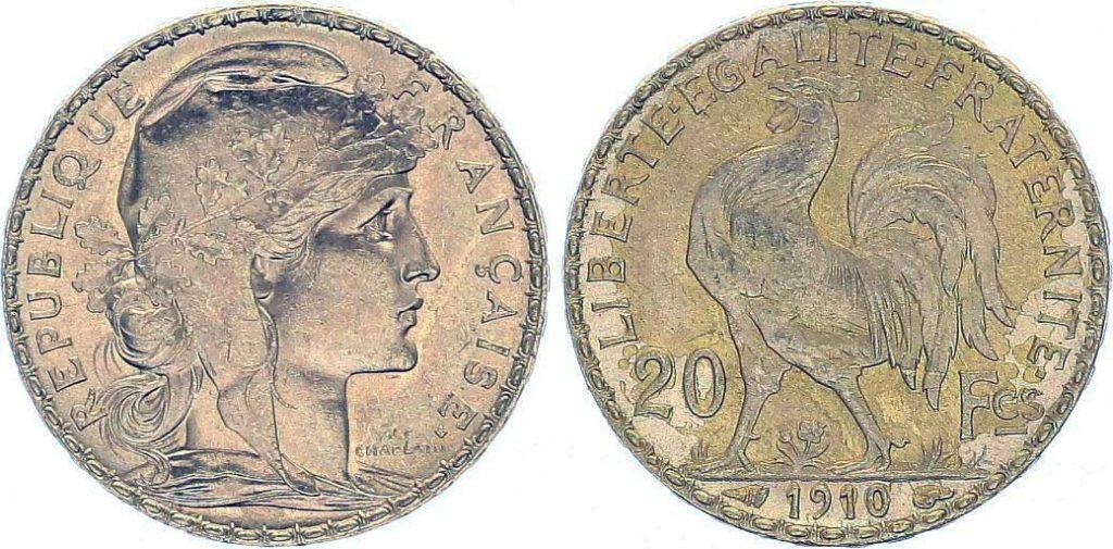 Avers y Revers de la 20 Francs en Or Coq Marianne 1910. Le napoleon or 1910 est une Pièce d'Or francaise de 5,80 gramme d'or fin d'un diamètre de 21,0 mm.