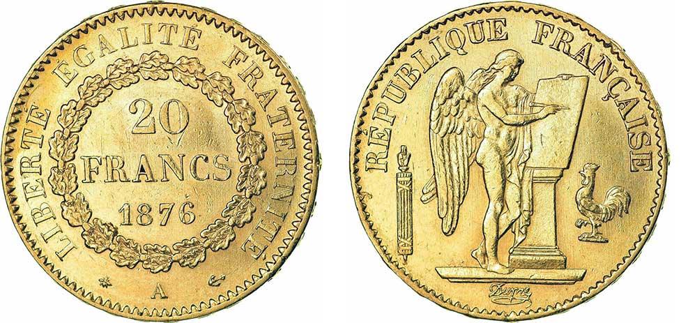 Avers y Revers de la 20 Francs en Or Génie 1876 A. Le napoleon or 1876 A est une Pièce d'Or francaise de 5,80 gramme d'or fin d'un diamètre de 21,0 mm.