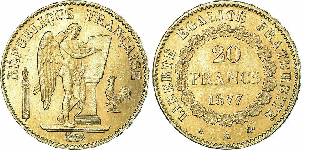 Avers y Revers de la 20 Francs en Or Génie 1877A. Le napoléon or 1877 A est une Pièce d'Or française de 5,80 gramme d'or fin d'un diamètre de 21,0 mm.