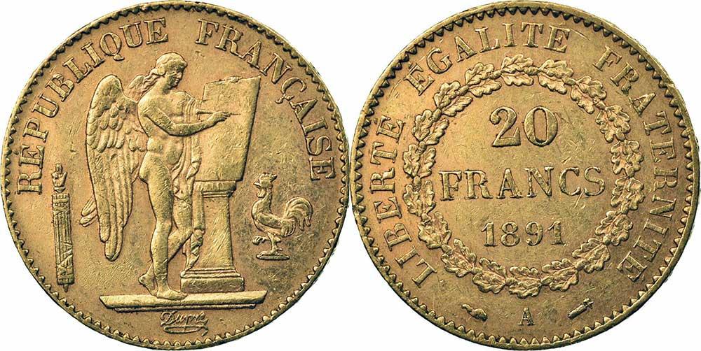 Avers y Revers de la 20 Francs en Or Génie 1891A. Le napoléon or 1891 A est une Pièce d'Or française de 5,80 gramme d'or fin d'un diamètre de 21,0 mm.