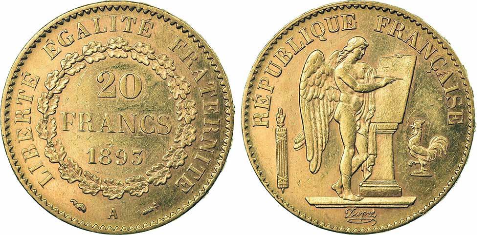 Avers y Revers de la 20 Francs en Or Génie 1893A. Le napoléon or 1893 A est une Pièce d'Or française de 5,80 gramme d'or fin d'un diamètre de 21,0 mm.
